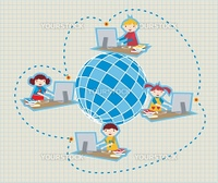 Children uses school social network to learn and teach class lessons.
