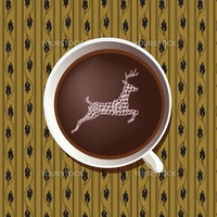 hot chocolate with stag fantasy on pattern background