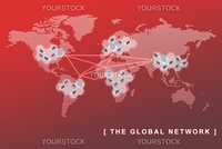 The global network business concept, can be use to symbolized virtual team, sites, remote working, and related global business concepts