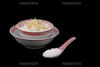 Chinese dinner-set with rice and bean sprouts.