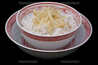 Two chinese bowls with rice and bean-sprouts.