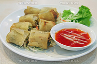 Springrolls traditional fried appetizer chinese cuisine