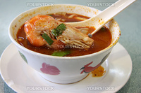 Spicy thomyam seafood soup traditional thai cuisine
