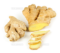 Sliced ginger root spice isolated on white background
