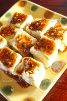 Chinese food, stinky tofu on the dish