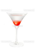 Lychee martini cocktail straight up isolated on white background