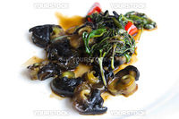 Chinese style fry escargot with green vegetable and red chilli