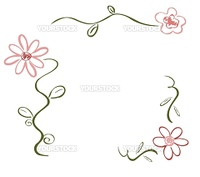 Simple hand-drawn floral deco/design ornament in colors green and pink