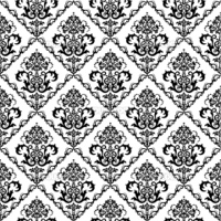 Seamless black & white floral wallpaper. This image is a vector illustration.