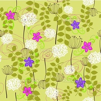 Seamless dandelion and flower wallpaper. This image is a vector illustration.