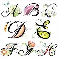 alphabets elements design - series A to H