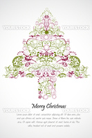 illustration of floral merry christmas card on white background