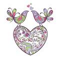タイトル:heart, birds, spring vector illustration