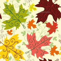 Autumn seamless decorative floral pattern with maple leaves (vector)