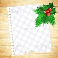 illustration of notebook sheet with Christmas decoration over wooden background