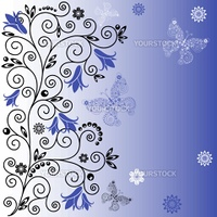 Gentle background with curls, blue flowers and butterflies (vector)