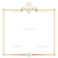 colored patterned frame with an ornament on a white background