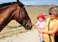 mother habituating her little daughter with horse