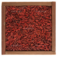 dried Tibetan goji berries (wolfberry) in a rustic wooden box isolated on white