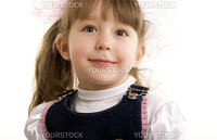 Beautiful little girl smiling over white
