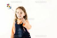 Beautiful little girl is playing