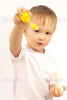 portrait of a little boy isolated on white