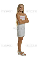 Portrait of the attractive girl standing. It is isolated on a white background