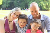 Group portrait of the big and happy family on walk in park