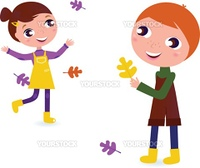 Autumn Boy and Girl isolated on white. Vector