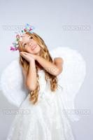 Angel children blond girl with sleeping hands gesture