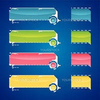 Vector illustration of website menu  in various colors.