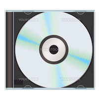 Computer or music cd with black cd case and blank label