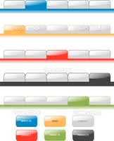 Set of vector modern navigation tabs aqua style web 2.0. Different colors, editable, sample menu.
