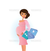 A stylish pregnant woman shops for her new baby. Vector Illustation.