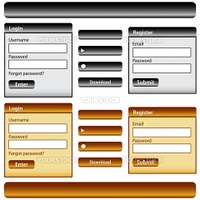 Web design template inc elements with login and register modules, buttons and menu bars in gold and black. Isolated on white.