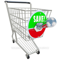 A shiny metal shopping cart on a white background and a switch flipped up into Save position, symbolizing the savings of a special sale or discount program at a store