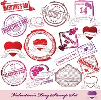 Set  of red rubber stamps for Valentine窶冱 Day. Vector illustration