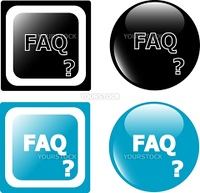 FAQ black and blue button icon isolated on white