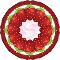 many big strawberry on circle label with yoghurt