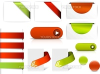 Red and green vector elements for web pages - buttons, navigation, pointers, arrows, badges, ribbons