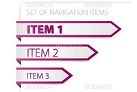 Purple paper arrows - modern navigation items on white background (vector)