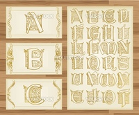 Vintage alphabet illustrations vector background
