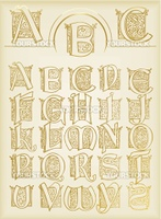 Vintage alphabet vector set on old paper for poster