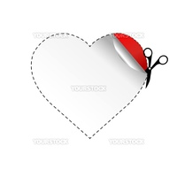 Heart And Scissors, Isolated On White Background, Vector Illustration