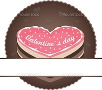 cake label as heart for valentine day