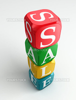 sale 3d colorful buzzword tower on white background