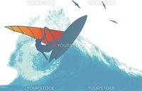 Wind Surfer Wave Vector Illustration