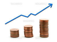 a positive graph with some coins on white background