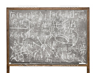 Equations on the old style blackboard isolated on white background