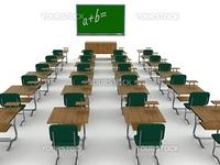 Interior of a school class. 3D image.